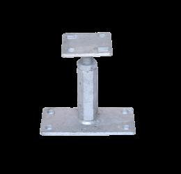 GeZu-Impex ® Verstelbare paalhouder/paaldrager, Carport voetplaat, Paalsteun, Moer maat M30, Hoogte Bereik 120-200mm, Verzinkt