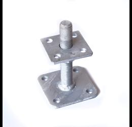 GeZu-Impex ® Verstelbare paalhouder, carport voetplaat, Instelbaar paalvoet, Moermaat  M24, Verstelbaar in hoogte tot 150mm, Thermisch verzinkt staal