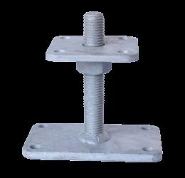 GeZu-Impex ® Verstelbare paalhouder, carport voetplaat, Instelbaar paalvoet, Moermaat  M24, Verstelbaar in hoogte tot 150mm met grotere bodemplaat, Thermisch verzinkt staal