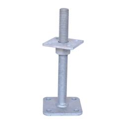 GeZu-Impex ® Verstelbare paalhouder, carport voetplaat, Instelbaar paalvoet, Moermaat  M24, Verstelbaar in hoogte tot 250mm, Thermisch verzinkt staal