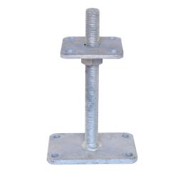GeZu-Impex ® Verstelbare paalhouder, carport voetplaat, Instelbaar paalvoet, Moermaat  M24, Verstelbaar in hoogte tot 250mm met grotere bodemplaat, Thermisch verzinkt staal