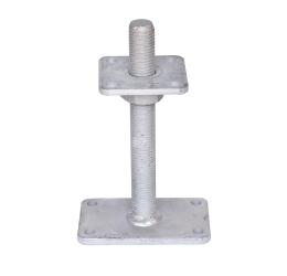 Verstelbare paalhouder, carport voetplaat, Instelbaar paalvoet, Moermaat  M30, Verstelbaar in hoogte van 50mm tot 220mm, Thermisch verzinkt staal, GeZu-Impex