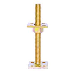 GeZu-Impex ® Verstelbare paalhouder, carport voetplaat, Instelbaar paalvoet, Moermaat  M16, Verstelbaar in hoogte tot 150mm, Electrolytisch verzinkt staal