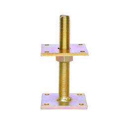 GeZu-Impex ® Verstelbare paalhouder, carport voetplaat, Instelbaar paalvoet, Moermaat  M20, Verstelbaar in hoogte tot 150mm, Electrolytisch verzinkt staal