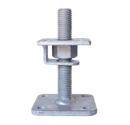 GeZu-Impex ® Verstelbare paalhouder, carport voetplaat, Instelbaar paalsteun met een haak plaat en borgmoer maat - M24, verstelbaar in hoogte tot 150mm, Thermisch verzinkt staal