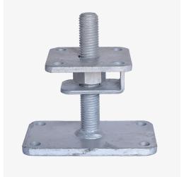 GeZu-Impex ® Verstelbare paalhouder, carport voetplaat, Instelbaar paalsteun met een haak plaat en borgmoer maat - M24, in hoogte verstelbaar tot 150mm, grotere voetplaat, Thermisch verzinkt staal