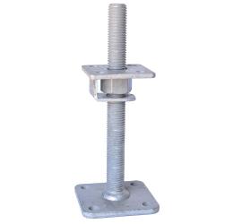 GeZu-Impex ® Verstelbare paalhouder, carport voetplaat, Instelbaar paalsteun met een haak plaat en borgmoer maat - M24, verstelbaar in hoogte tot 250mm, Thermisch verzinkt staal