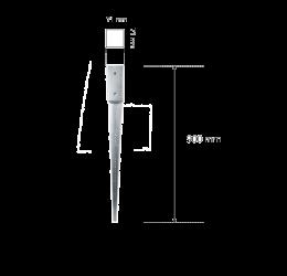 GeZu-Impex ® Paalhoudersmet Punt 71x71x900 mm,of Puntpaalhouders Vuurverzinkt