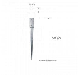 GeZu-Impex ® Paalhoudersmet Punt 91x91x750 mm of Puntpaalhouders Vuurverzinkt