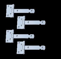 GeZu-Impex ® 4 stuks Kruishengen,T scharnieren, Poortscharnieren, Enkel blad lengte 100mm, Electrolytisch verzinkt staal