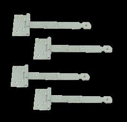 GeZu-Impex ® 4 stuks Kruishengen,T scharnieren, Poortscharnieren, Enkel blad lengte 150mm, Electrolytisch verzinkt staal