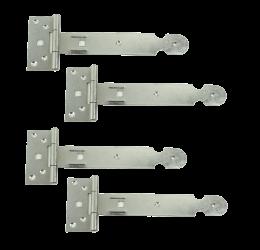 GeZu-Impex ® 4 stuks Kruishengen,T scharnieren, Poortscharnieren, Enkel blad lengte 200mm, Electrolytisch verzinkt staal