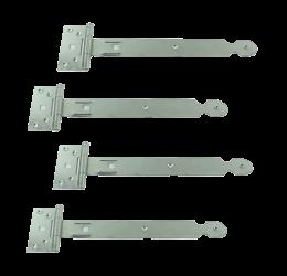 GeZu-Impex ® 4 stuks Kruishengen,T scharnieren, Poortscharnieren, Enkel blad lengte 250mm, Electrolytisch verzinkt staal