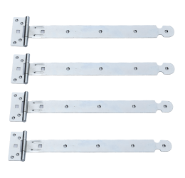 GeZu-Impex ® 4 stuks Kruishengen,T scharnieren, Poortscharnieren, Enkel blad lengte 400mm, Electrolytisch verzinkt staal