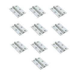 GeZu-Impex ® 10x Deurscharnier, binnenscharnier, meubelscharnier, scharnier voor kasten, tafel, klaptafel, 62 x 43 mm, Electrolytisch verzinkt staal