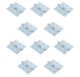 GeZu-Impex ® 10x Hoekscharnier, Deurscharnier, scharnier voor deuren, kasten, klaptafels, 75 x 75 mm, Roestvrij staal