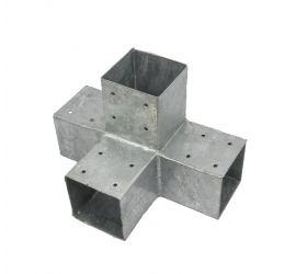 Paalhoek,Hoekverbinding, paviljoenhoek T-model voor hout 90x90 mm voor 3 balken