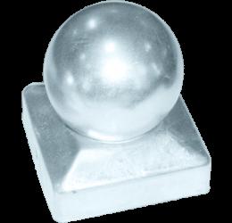GeZu-Impex ® Paalkap met bol 71x71 mm,  Thermisch Verzinkt voor Houten Palen