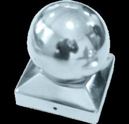 Paalkap met bol 71x71 mm, roestvrij staal voor Houten Palen