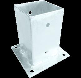 GeZu-Impex ® Paalhouder op plaat 71x150 mm Roestvrij Staal Voetsteun Paalvoet voor Vierkante Houten Palen