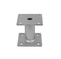 GeZu-Impex ® Paalhouder 100x100x5 mm, Hoogte 100 mm, met Vaste Afstandbus,