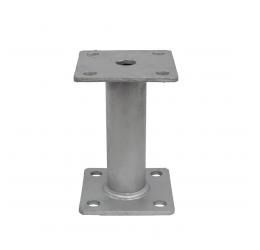 GeZu-Impex ® Paalhouder 100x100x5 mm, Hoogte 150 mm met Vaste Afstandbus.