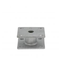 GeZu-Impex ® Paalhouder 100x100x5 mm, hoogte 50 mm, met Vaste Afstandbus.