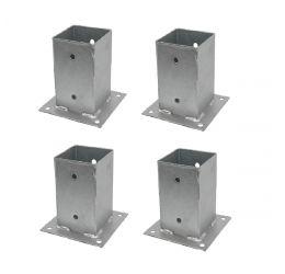 GeZu-Impex ® 4x Paalhouder op plaat 91x150 mm, Voetsteun, Paalvoet voor Vierkante Houten Palen, Vuurverzinkt staal