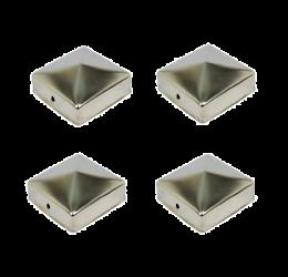 4x Paalkappen roestvrij staal 91x91 mm, Paalornament  voor Houten Palen