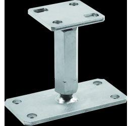 GeZu-Impex ® Verstelbare paaldragers, M24, lengte 165-230mm met onderplaat 160x80x8 en bovenplaat 80x80x6 mm