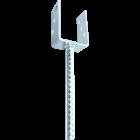 GeZu-Impex ® U-pergoladrager paalhouder 121x300x60x4 mm geribbelde lange pen, U-paalhouder , betonanker van geribbelde staaf